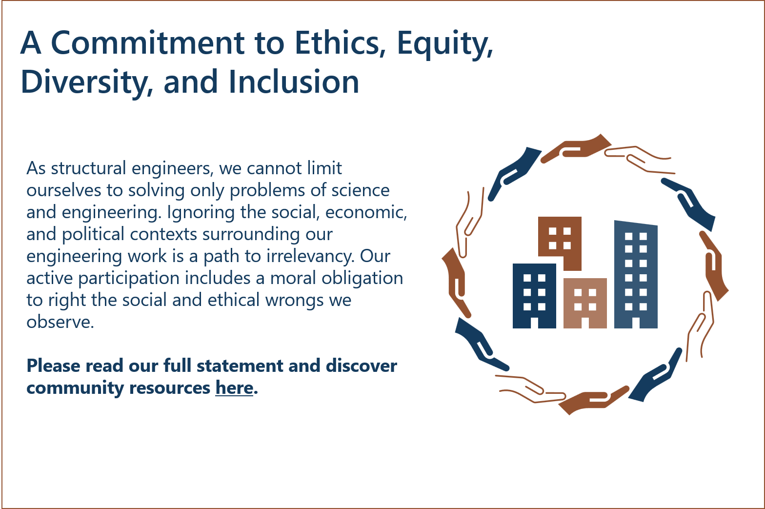 A Commitment to Ethics, Equity, Diversity, and Inclusion